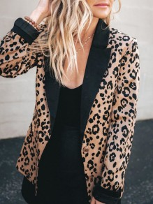 Brown Leopard Print Tailored Collar Long Sleeve Fashion Casual Work Blazer