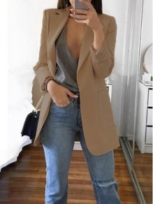 Khaki Pockets Tailored Collar Long Sleeve Plus Size Casual Blazer Suit