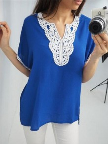 Blue Patchwork Lace Tassel V-neck Fashion Blouse