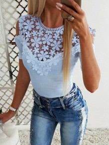 Blue Patchwork Lace Cut Out Round Neck Short Sleeve Sweet Blouse