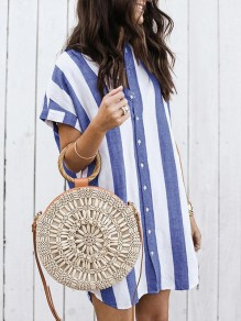 Blue Striped Single Breasted Band Collar Fashion Blouse