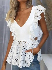 White Patchwork Cut Out Ruffle V-neck Fashion Blouse