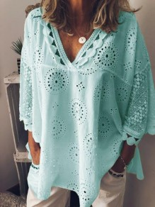 Green Patchwork Lace V-neck 3/4 Sleeve Fashion Going out Blouse