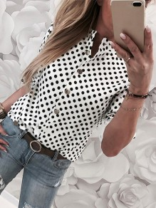 White-Black Print Going out Fashion Comfy Short Sleeve Blouse