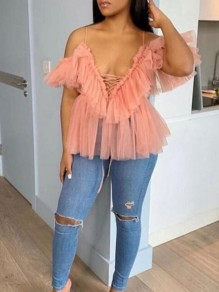 Pink Patchwork Grenadine Cascading Ruffle Lace-up Spaghetti Strap V-neck Party Blouse