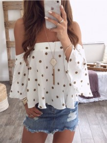 Coffee Polka Dot Cut Out Off Shoulder Backless Fashion Blouse