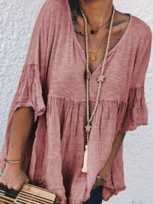 Pink Patchwork V-neck Elbow Sleeve Going out Blouse