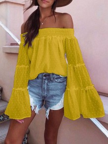 Yellow Polka Dot Draped Off Shoulder Backless Flare Sleeve Bohemian Blouse