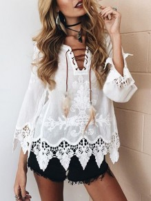 White Patchwork Lace Cut Out Embroidery Feather Drawstring V-neck Long Sleeve Fashion Casual Blouse