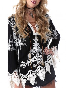 Black Patchwork Lace V-neck Long Sleeve Fashion Blouse