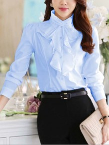 Sky Blue Cascading Ruffle Buttons Bow OL Professional Blouse