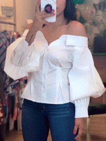 White Off Shoulder Buttons Lantern Sleeve Party Blouse