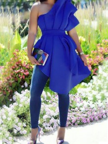 Royal Blue Irregular Ruffle Asymmetric Shoulder Peplum Elegant Party Blouse