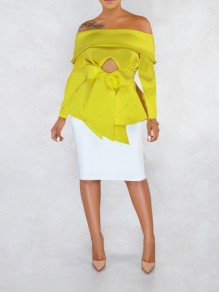 Yellow Off Shoulder Bow Ruffle Peplum Elegant Party Blouse