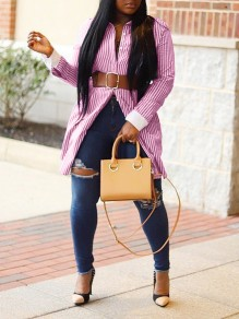 Pink Striped Buttons Front Slit Long Sleeve Casual Blouse