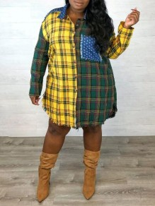 Green-Yellow Plaid Star Print Pockets Single Breasted Distressed Turndown Collar Casual Blouse