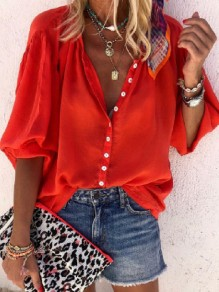 Red Patchwork Buttons Loose V-neck Long Sleeve Fashion Blouse