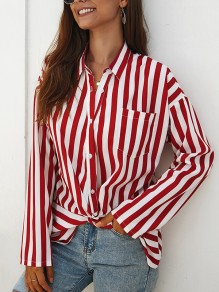Red Striped Buttons Pockets Turndown Collar Long Sleeve Fashion Blouse