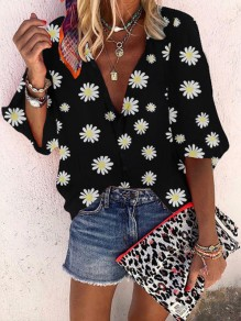 Black Small Daisy Print V-neck Long Sleeve Honey Girl Blouse