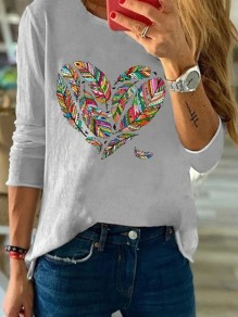 Grey Heart Feather Round Neck Long Sleeve Casual Fashion Blouse