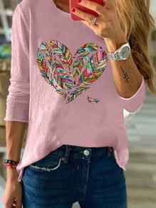 Pink Heart Feather Round Neck Long Sleeve Casual Fashion Blouse