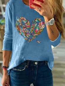 Blue Heart Langarm Rundhals Casual Fashion Bluse