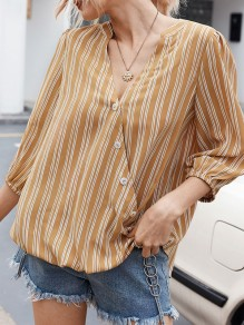 Yellow Button Striped V-neck Elbow Sleeve Oversize Blouse