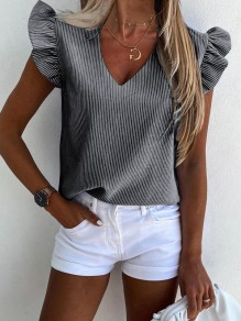 Grey Striped Print Ruffle V-neck Short Sleeve Fashion Blouse