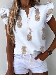 White Pineapple Ruffle V-neck Going Out Blouse