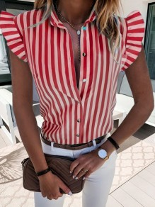 Red Striped Button Ruffle V-neck Short Sleeve Oversize Blouse