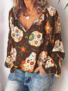 Brown Floral Print V-neck Long Sleeve Fashion Blouse