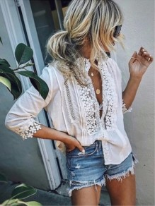 White Patchwork Lace Long Sleeve V-neck Fashion Blouse