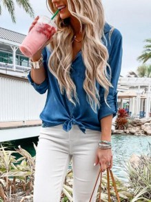 Blue Single Breasted Bow V-neck Long Sleeve Fashion Jeans Blouse