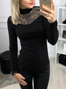 Black Patchwork Lace High Neck Long Sleeve Elegant Blouse