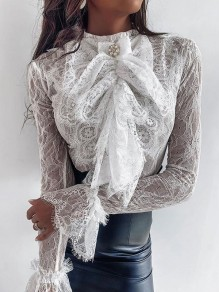 White Patchwork Lace Cascading Ruffle Sheer Elegant Party Blouse
