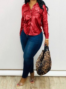Red Buttons Pockets PU Leather Latex Rubber Long Sleeve Casual Blouse