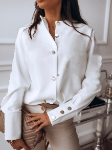 White Single Breasted Round Neck Long Sleeve Elegant Blouse