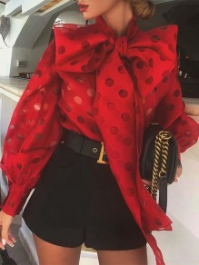 Red Polka Dot Bow Lantern Sleeve Fashion Blouse