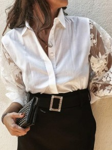 White Grenadine Turndown Collar Long Sleeve Elegant Blouse