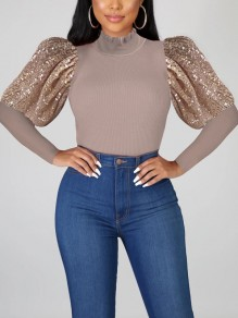 Grey Patchwork Sequin Puff Sleeve Sparkly Glitter Birthday Party Blouse