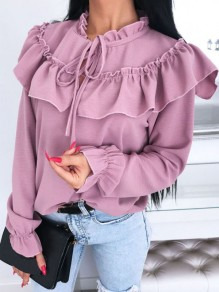 Pink Ruffle Lace-up Band Collar Long Sleeve Elegant Blouse