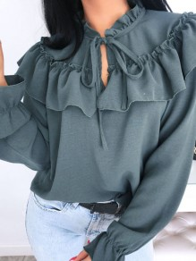 Green Ruffle Lace-up Band Collar Long Sleeve Elegant Blouse