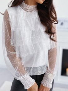 White Polka Dot Grenadine Ruffle Band Collar Long Sleeve Blouse