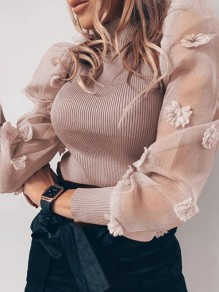 Khaki Patchwork Grenadine Puff Sleeve Party Blouse