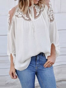 White Patchwork Lace Grenadine Lantern Sleeve Fashion Blouse