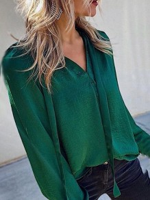 Green Patchwork Belt Fashion V-neck Long Sleeve Elegant Blouse
