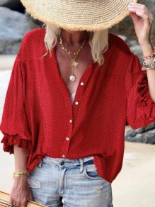 Red Polka Dot Print Plus Size Fashion Long Sleeve Blouse