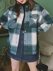 Green Plaid Single Breasted Pockets Turndown Collar Long Sleeve Blouse