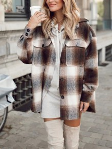 Brown Plaid Buttons Pockets Turndown Collar Long Sleeve Fashion Blouse