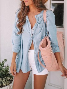 Light Blue Patchwork Buttons V-neck Long Sleeve Elegant Denim Blouse